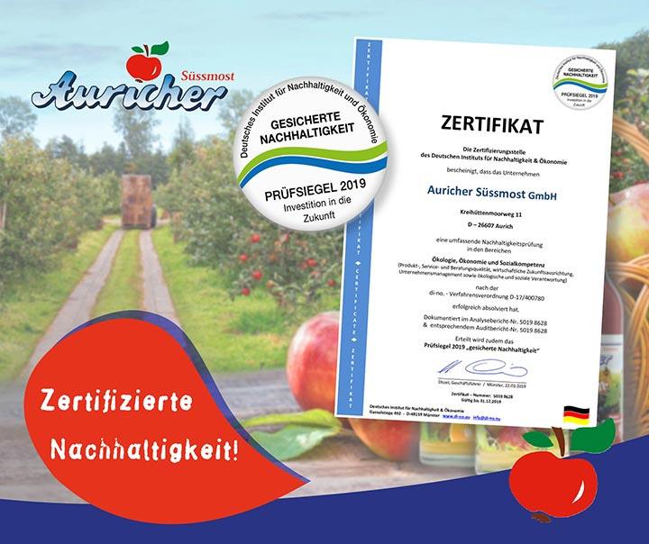 Zertifikat für Nachhaltigkeit
