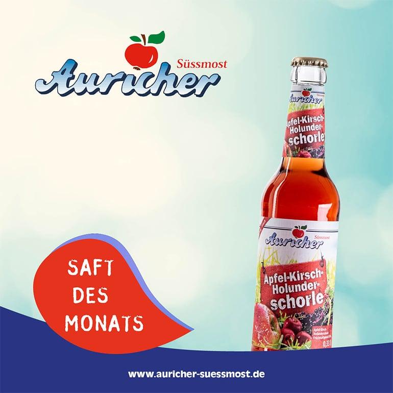 Saft des Monats: Apfel-Kirsch-Holunder-schorle